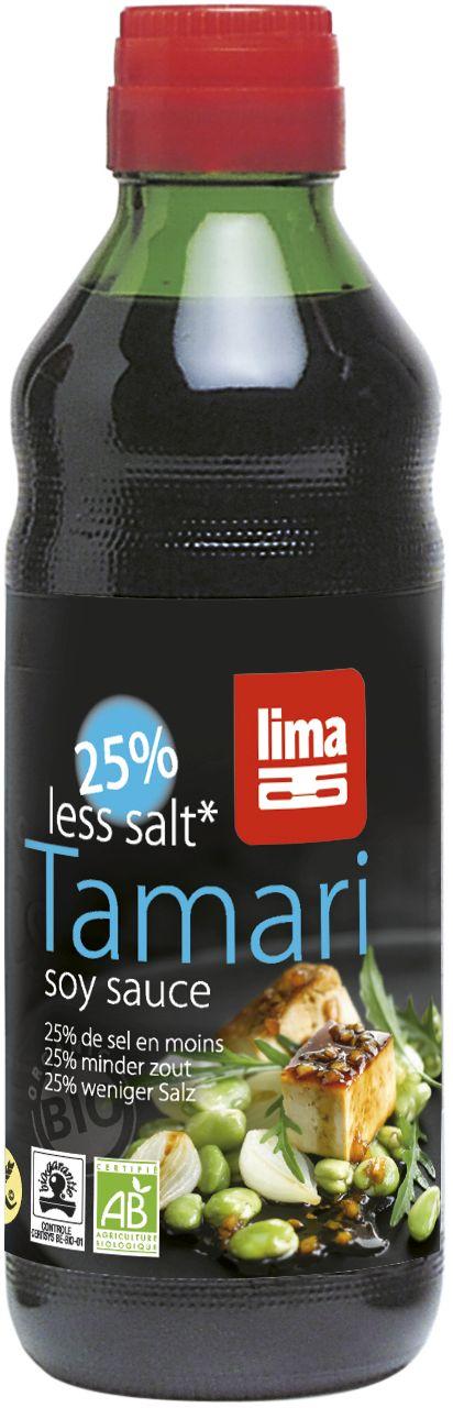 SOS SOJOWY TAMARI 25% MNIEJ SOLI BEZGLUTENOWY BIO 500 ml - LIMA
