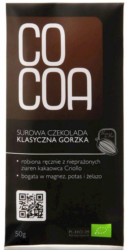 CZEKOLADA SUROWA KLASYCZNA GORZKA BIO 50 g - COCOA