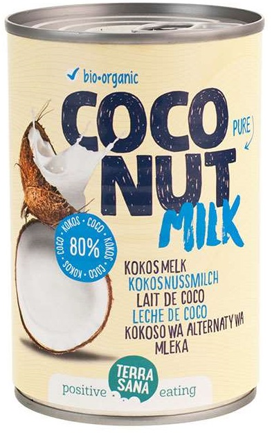 COCONUT MILK - NAPÓJ KOKOSOWY BEZ GUMY GUAR W PUSZCE (22% TŁUSZCZU) BIO 400 ml - TERRASANA